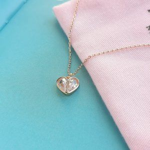 pink rock solid stone heart mini pendant